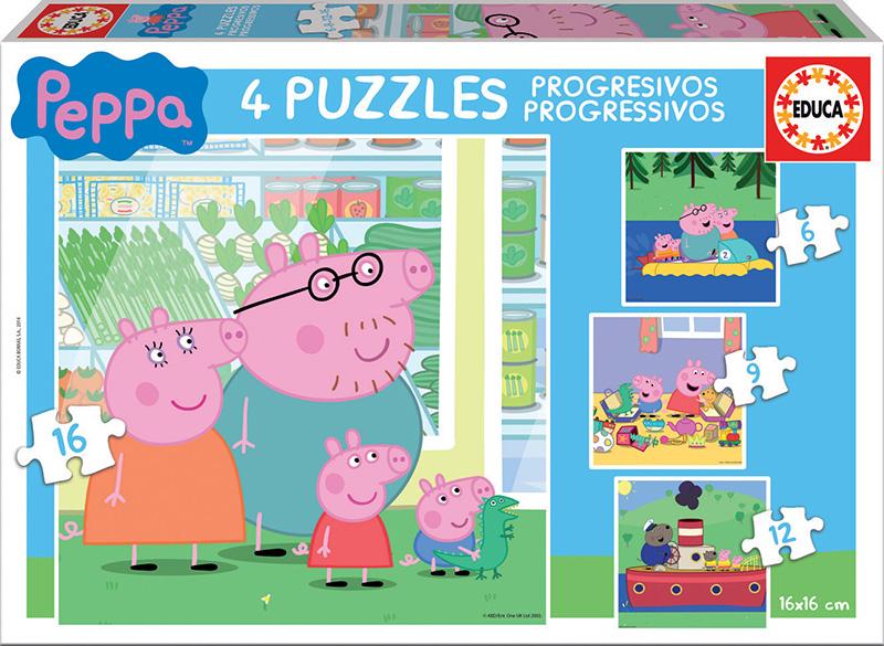 Puzles Progressius Peppa Pig 6+9+12+16