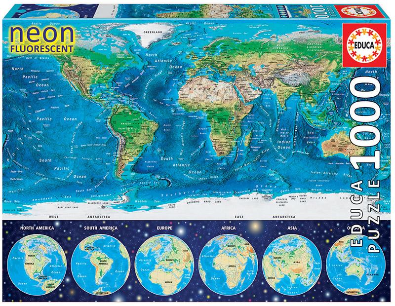 1000 Mapamundi físico «Neon»
