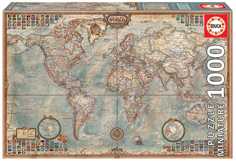 """1000 El món, mapa polític """"Miniature"""""""