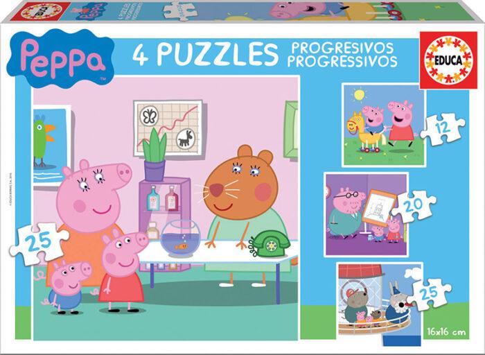 Puzzles progresivos Peppa Pig 12+16+20+25