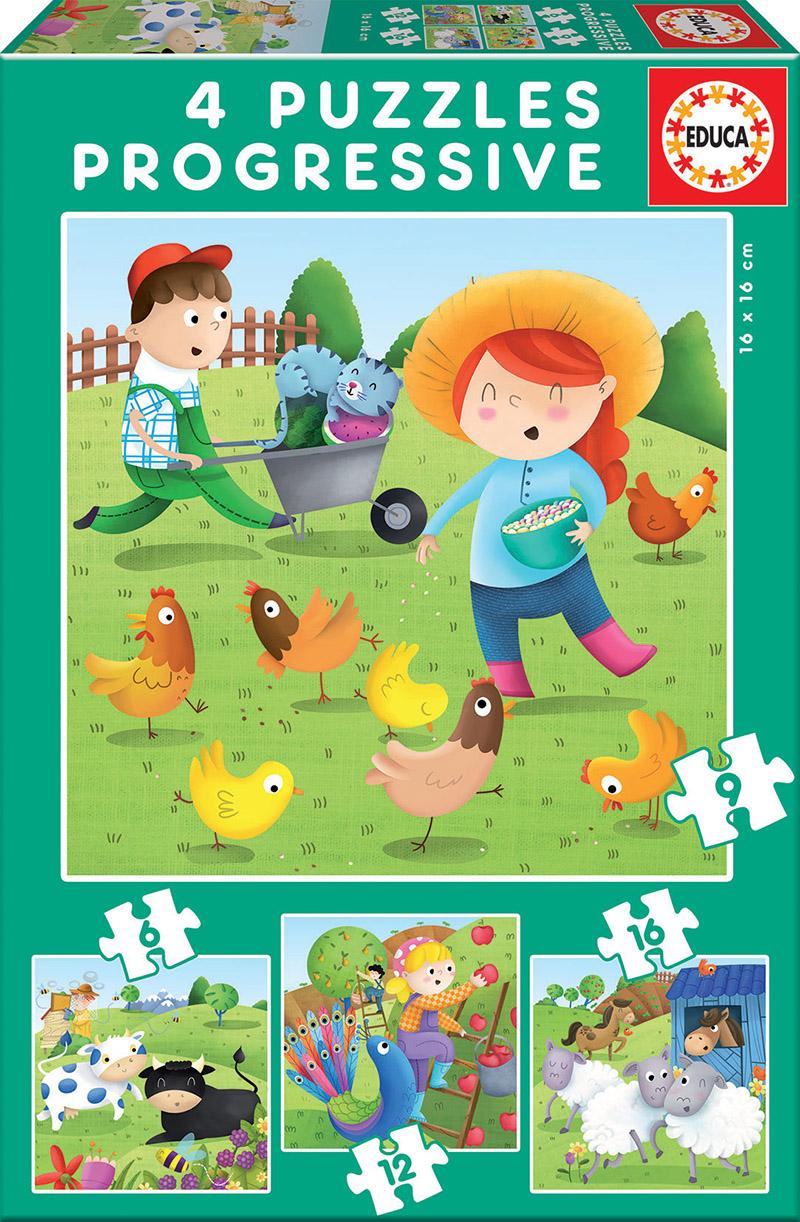 Puzzle Progressif Animaux de la ferme 6+9+12+16 pcs