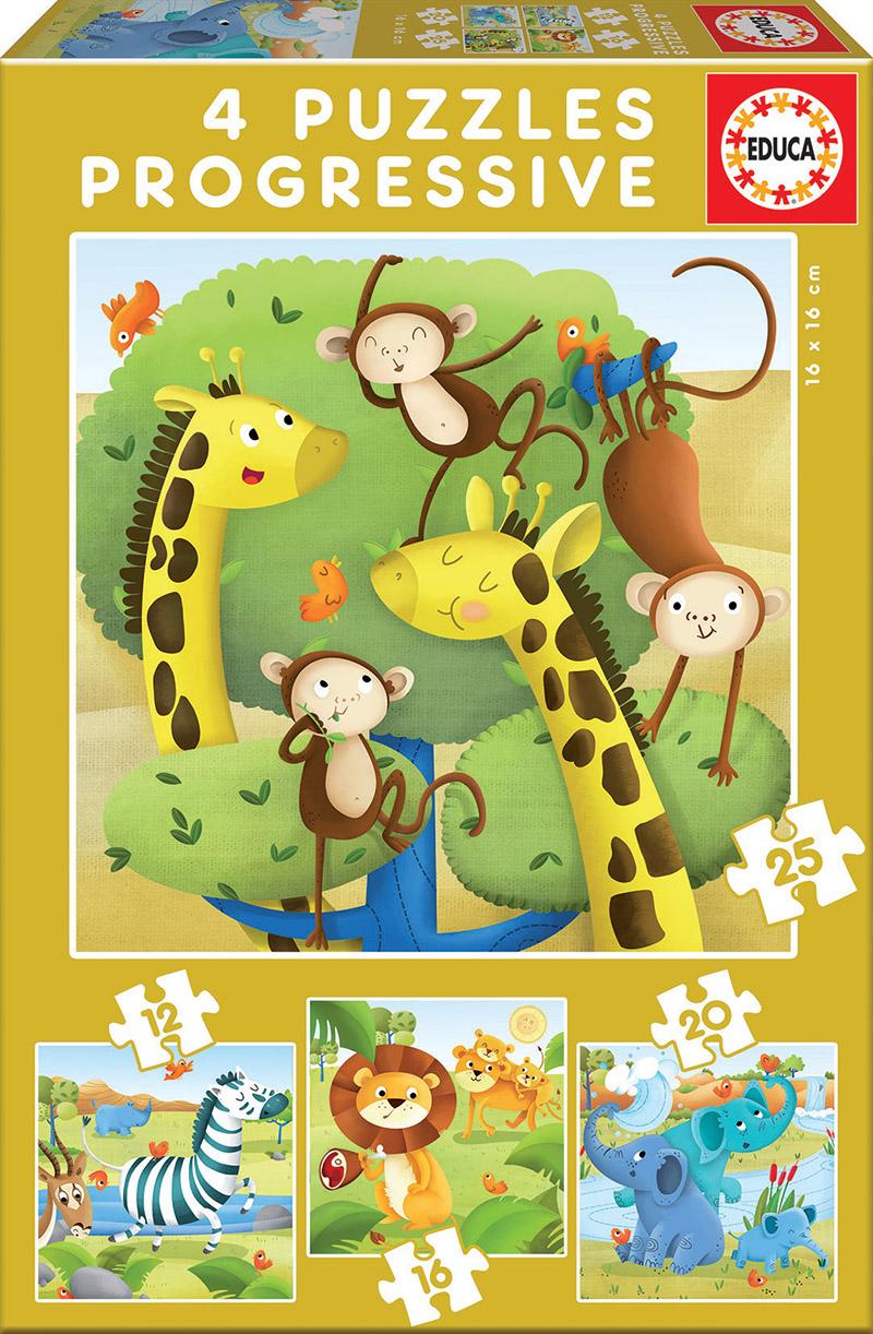 Progressive Puzzles Wild animals 12+16+20+25