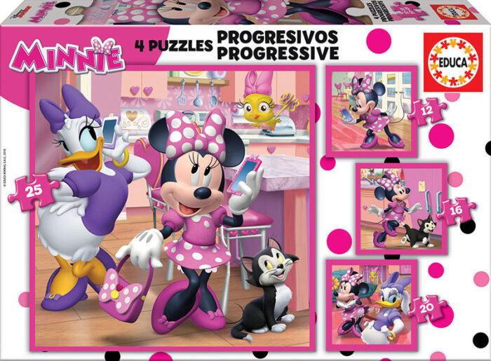 Puzzles Progresivos Minnie Ayudantes Felices 12+16+20+25