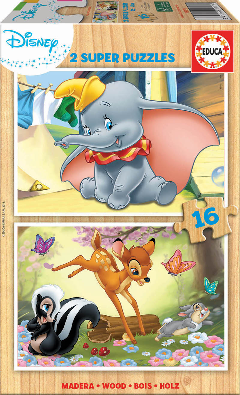 2×16 Bois Disney Animals – Bambi + Dumbo