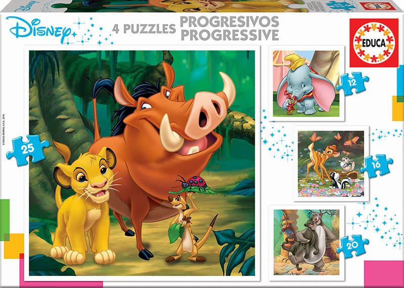 Puzzles Progresivos Disney Animals 12+16+20+25