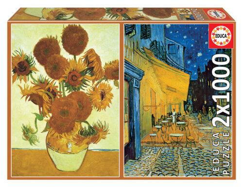 2x1000 Los girasoles + Terraza de café por la noche, Vincent Van Gogh