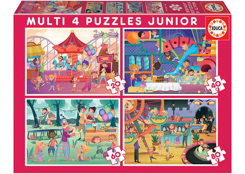 Multi 4 Junior Puzzles Parc D´attraction et fête d´enfants 20+40+60+80