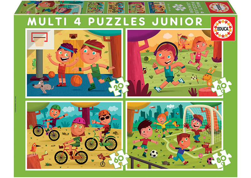 Multi 4 Junior Puzzles Sports 20+40+60+80