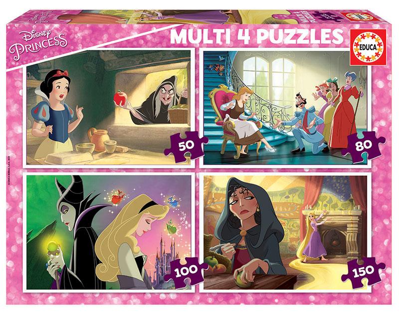 Multi 4 Puzzles Disney Villains 50+80+100+150