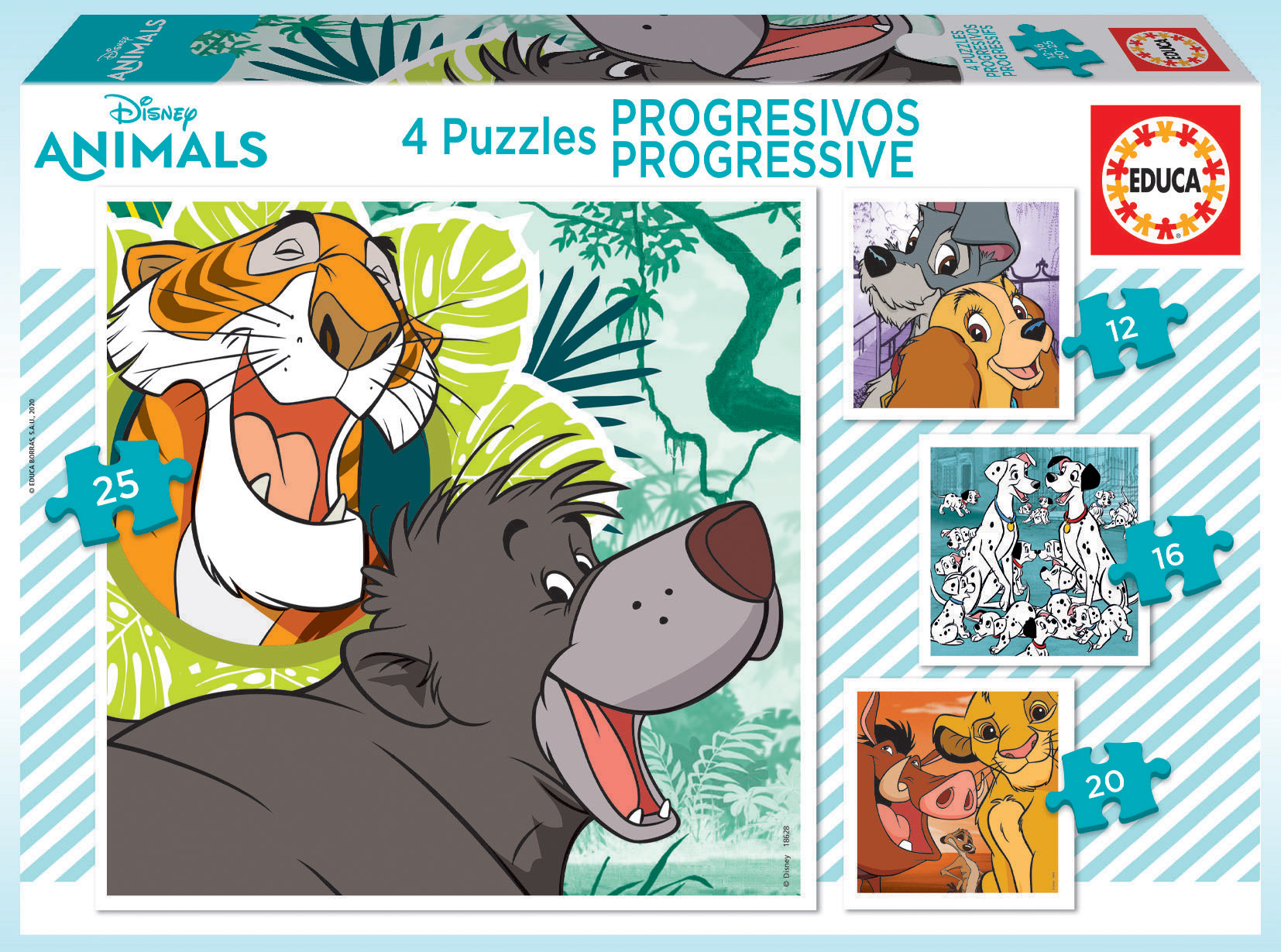 Puzzles Progressifs Disney Animals 2 12+16+20+25