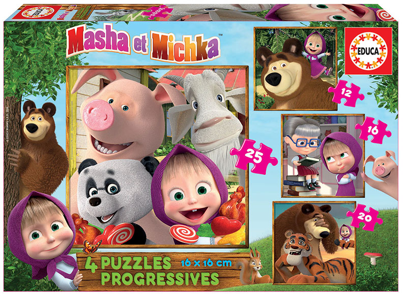 Progressive Puzzles Masha and The Bear 12+16+20+25