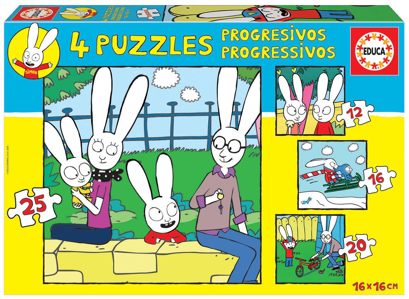 Puzzles progresivos Simon el Conejo 12+16+20+25