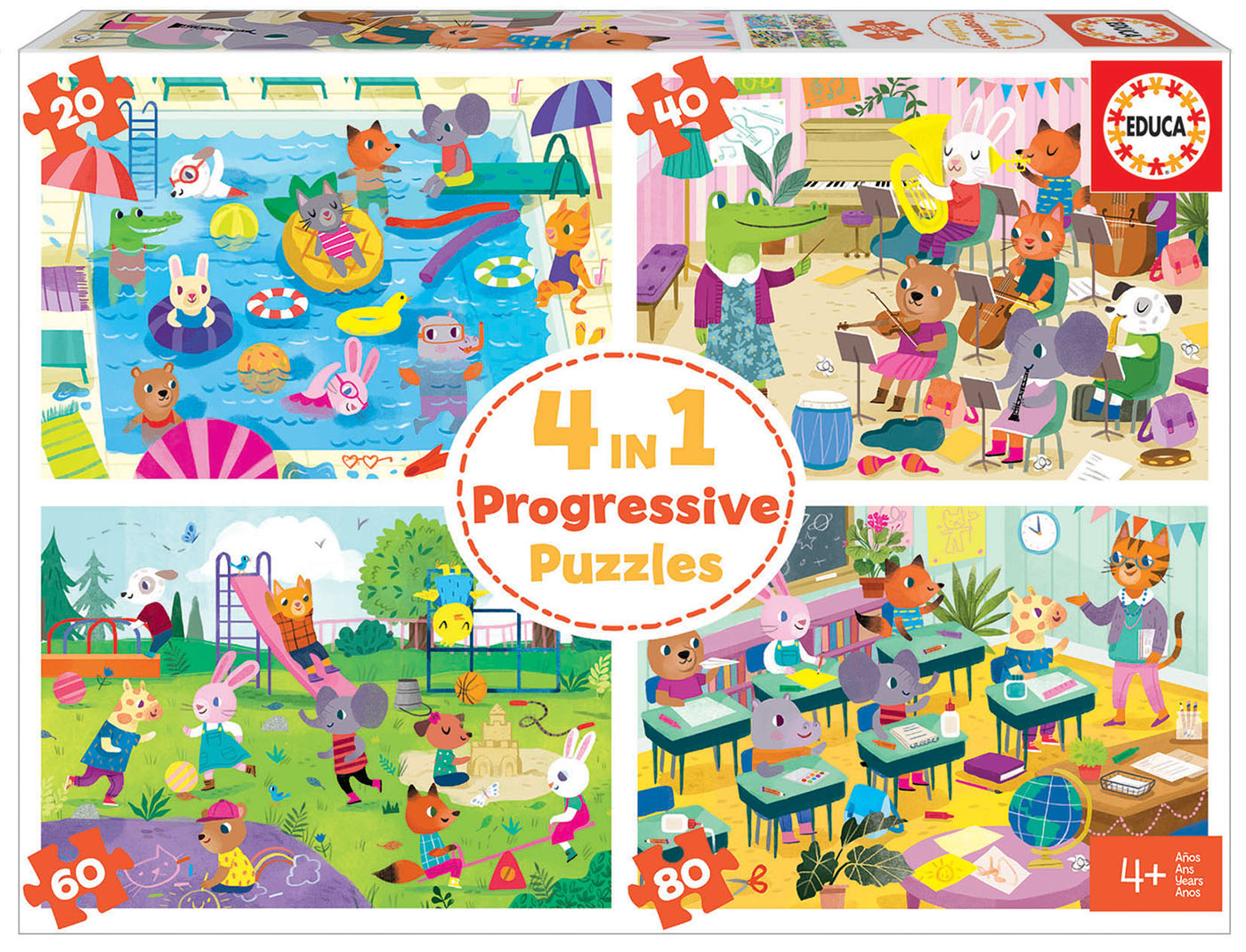 4 in a Box Puzzles. Dia na Escola 20-40-60-80