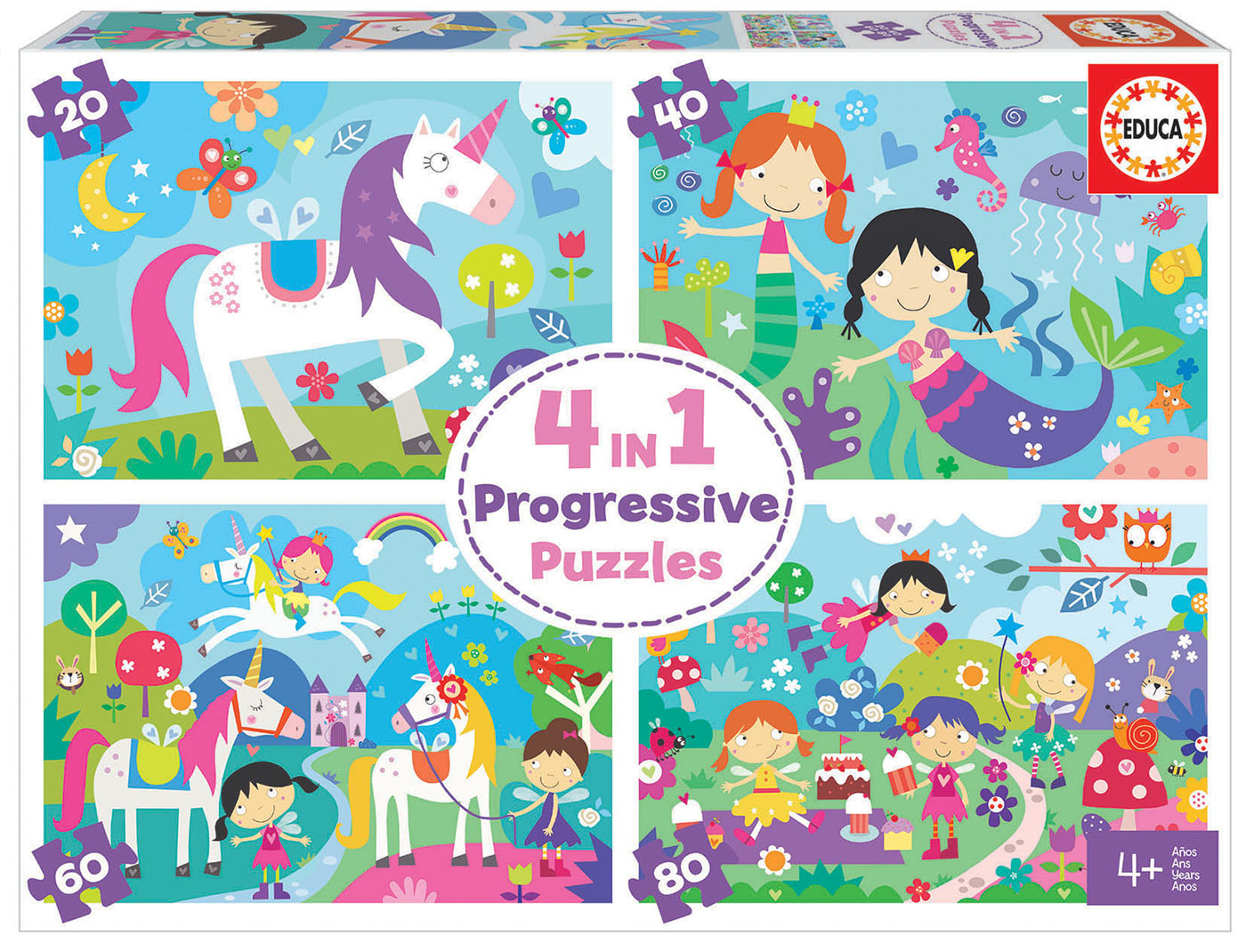 4 in a Box Puzzles. Mundo da Fantasia 20-40-60-80