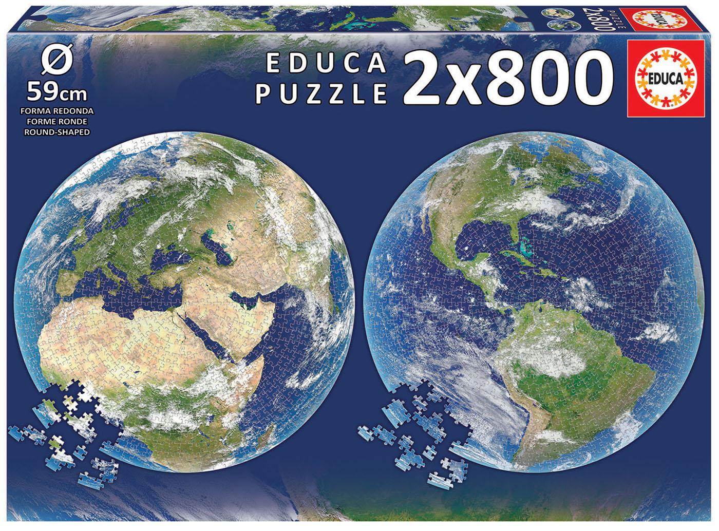 2×800 Planète Terre Round Puzzle