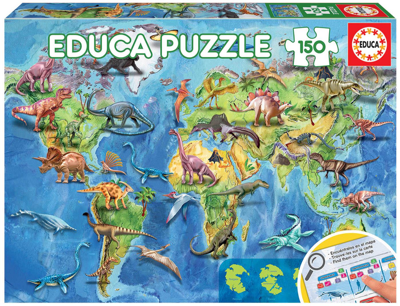 150 World Map Dinosaur