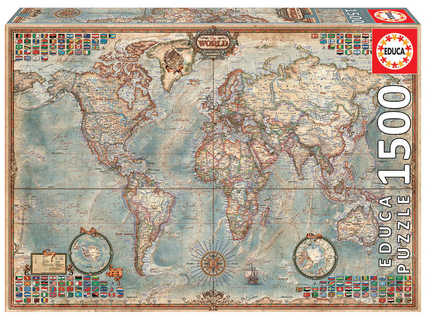 1500 Le monde, carte politique