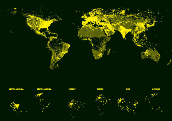 "1000 World Map ""Neon"""