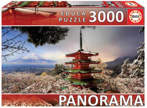 """3000 Mount Fuji and Chureito Pagoda, Japan """"Panorama"""""""