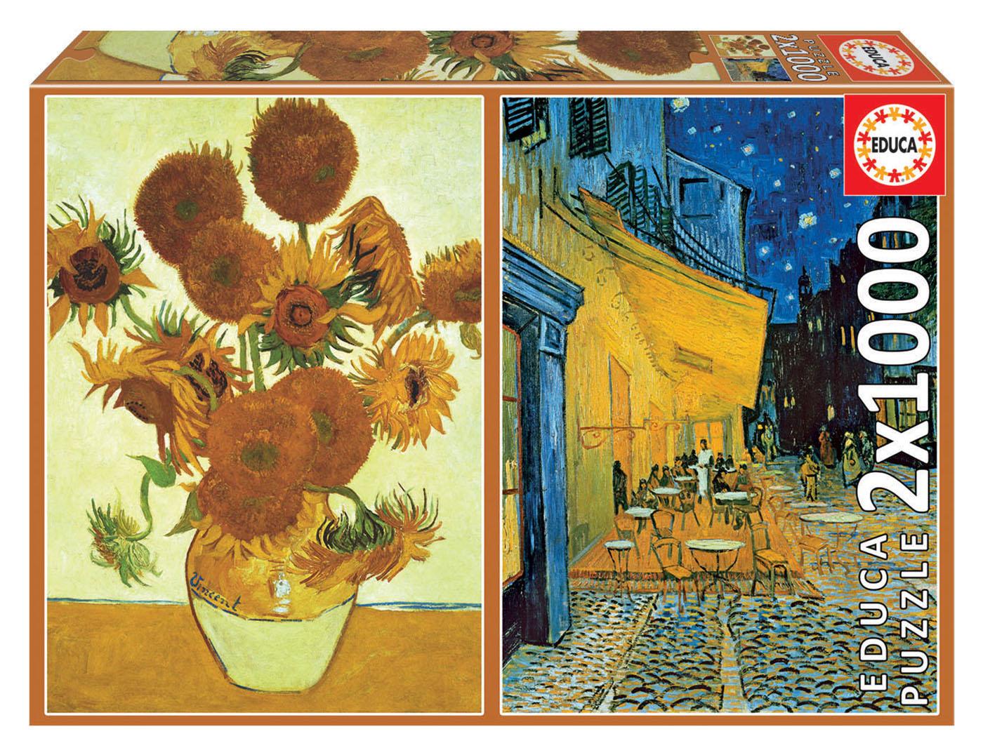 2×1000 Vaso com quinze girassóis + Terraço do café à noite, Vincent Van Gogh